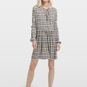ASOS Multi Color Checked Plisse Smock Skater Dress